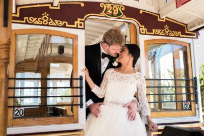 San Francisco Fairmont Hotel Wedding Photographer cable car